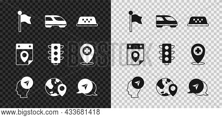 Set Location Marker, High-speed Train, Taxi Car Roof, With Person, The Globe, Infographic City Map N
