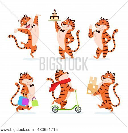 Cartoon Tigers Set. Holiday Characters For New Year Adorable Flat Symbol. Smiling Orange Striped Wil