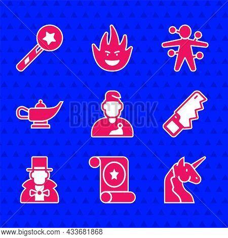 Set Wizard Warlock, Magic Scroll, Unicorn, Hand Saw, Magician, Lamp Aladdin, Voodoo Doll And Wand Ic