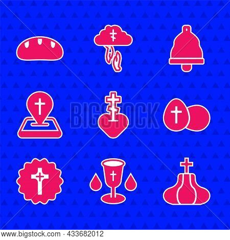 Set Religious Cross In Heart, Christian Chalice, Church Tower, Easter Egg, Location Church Building,