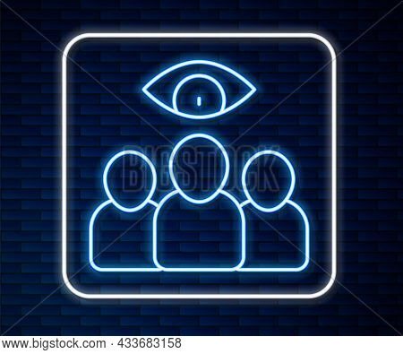 Glowing Neon Line Spy, Agent Icon Isolated On Brick Wall Background. Spying On People. Vector