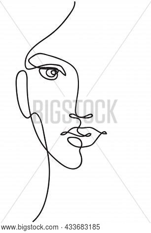 Beautyfull Girl Face. Attractive Young Woman Portrait Female Beauty Concept. Continuous Line Drawing