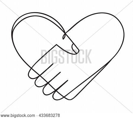 Heart Of Handshake As Friendship And Love Icon. Continuous Line Art Drawing. Hand Drawn Doodle Vecto