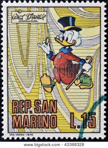 A stamp printed in San Marino shows Scrooge McDuck cartoon character of Walt Disney circa 1970