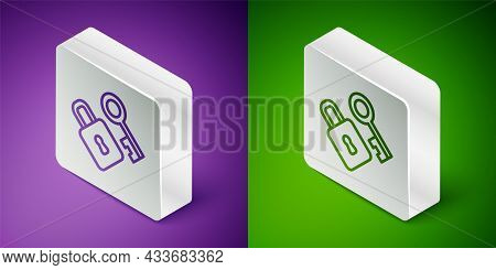 Isometric Line Lock With Key Icon Isolated On Purple And Green Background. Love Symbol And Keyhole S