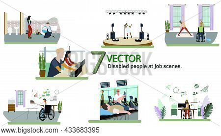 Set Of Disabled People At Job Scenes, Plumber With Leg Prosthesis, Disabled Woman In Wheelchair Doin