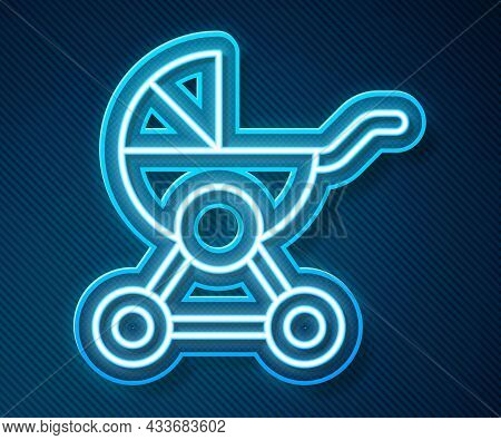 Glowing Neon Line Baby Stroller Icon Isolated On Blue Background. Baby Carriage, Buggy, Pram, Stroll