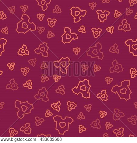 Brown Line Baby Clothes Icon Isolated Seamless Pattern On Red Background. Baby Clothing For Baby Gir