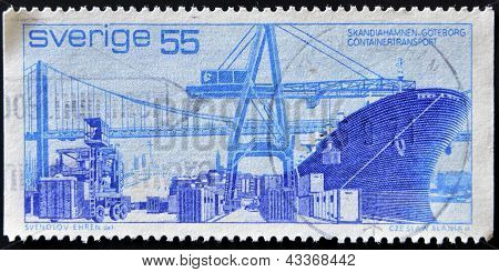 A stamp printed in Sweden shows containerized cargo in the port of Gothenburg