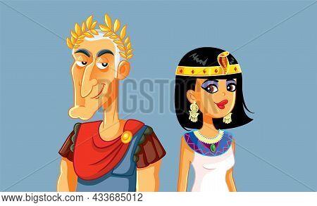 Caesar And Cleopatra Power Couple Vector Cartoon Illustration