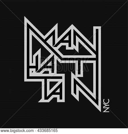 Manhattan New York City Vector Text. Hand Drawn Lettering. Can Be Used For Printing On T Shirt And S