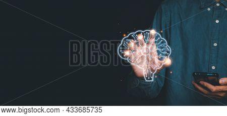 Artificial Intelligence Ai, Businessman Hand Touching Holographic Brain Artificial Intelligence (ai)
