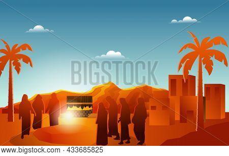 People Listening To Sermon Nabi Prophet Muhammad Islam History Islamic Illustration