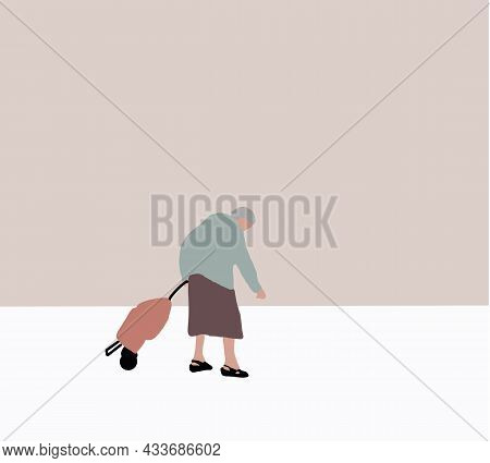 Senior Woman With A Shopping Bag On Wheels Walking In City Buys Groceries, Food. Vector Flat Illustr