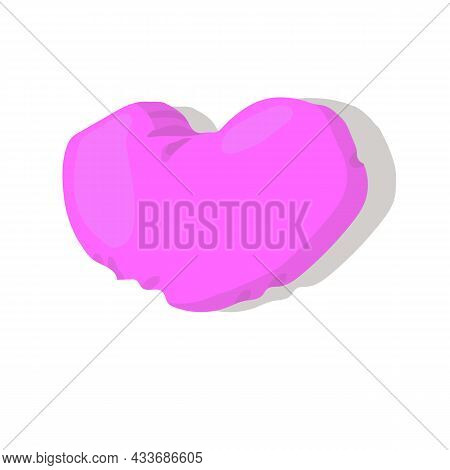 Pink Pillow Heart. Realism Style. Vector Stock Illustration Isolated On White Background.