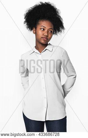 Teenage girls in white shirts for youth basic fashion photoshoot