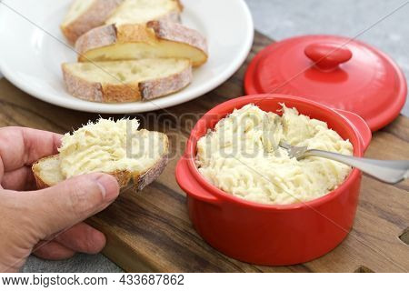 brandade of cod (creamy paste with dried salted cod, potatoes, milk and olive oil);  it called brandada de bacalao(Spain), brandade de morue(France), baccala mantecato(Italy)  )