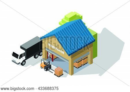 Isometric Illustration Warehouse Where Goods Are Stored On Pallets And Racks With Cargo Container Tr