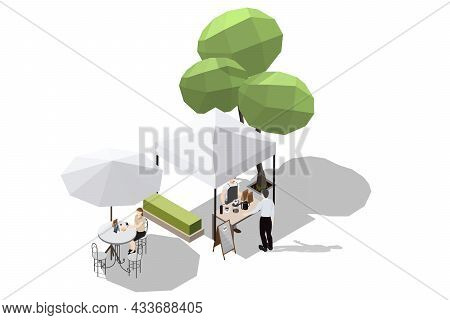 Isometric Illustration An Open-air Coffee Shop Where Baristas Make Freshly Brewed Coffee Manually An
