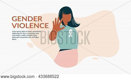 Gender Violence Concept Woman Show Stop Gesture Protest Against Racial Or Gender Discrimination. Eli