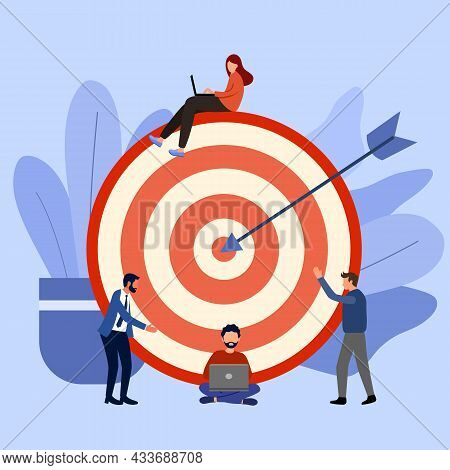 People Working With Laptop Or Communications. Target Marketing. Achieve Goal. Business Strategy. Wor