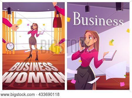 Business Woman Work In Office Cartoon Posters, Multitasking Businesswoman With Smartphone And Notepa