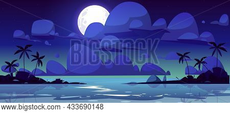 Tropical Landscape With Sea Bay At Night. . Vector Cartoon Illustration Of Summer Seascape With Lago