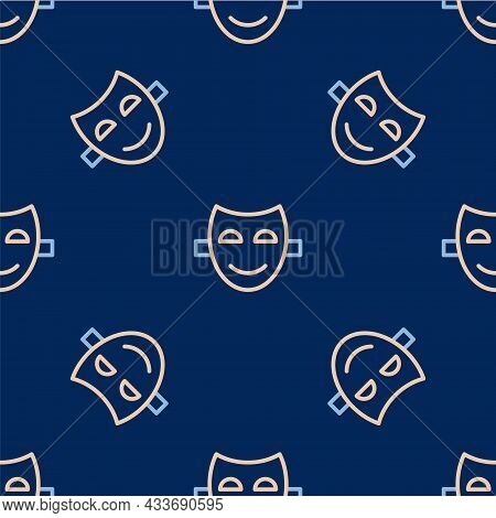 Line Comedy Theatrical Mask Icon Isolated Seamless Pattern On Blue Background. Vector