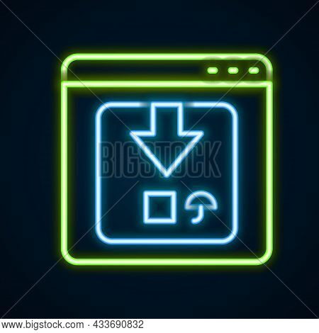 Glowing Neon Line Online App Delivery Tracking Icon Isolated On Black Background. Parcel Tracking. C