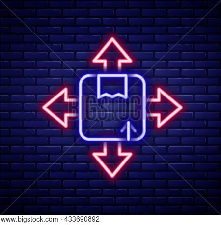 Glowing Neon Line Carton Cardboard Box Icon Isolated On Brick Wall Background. Box, Package, Parcel