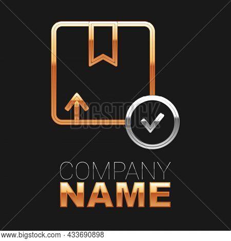 Line Carton Cardboard Box Icon Isolated On Black Background. Box, Package, Parcel Sign. Delivery And