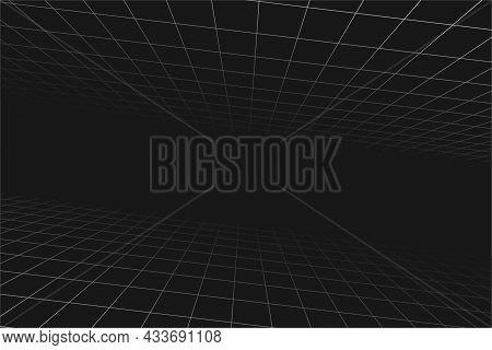 Grid Perspective Sloping Black Room. Floor And Celling. Gray Wireframe Background. Digital Cyber Box