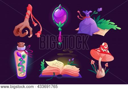 Witch Items Magic Mirror, Spell Book, Bird Foot And Sack With Dry Herbs, Fly Agaric Mushroom, Bottle