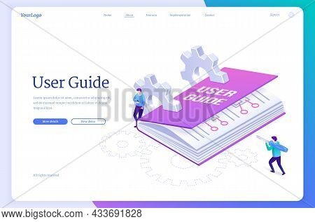 User Guide Isometric Landing Page, Tiny People At Huge Manual Book, Guidance Document With Cogwheels