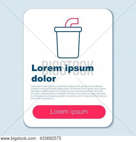 Line Paper Glass With Drinking Straw And Water Icon Isolated On Grey Background. Soda Drink Glass. F