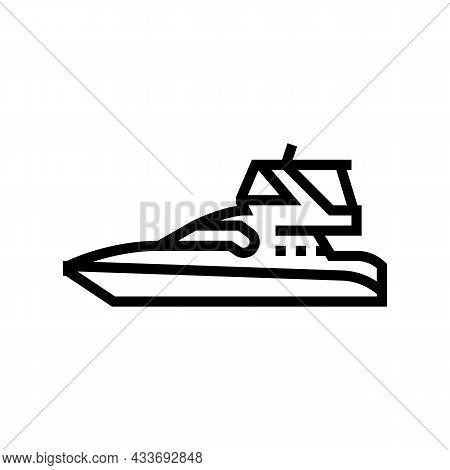 Sedan Bridge Boat Line Icon Vector. Sedan Bridge Boat Sign. Isolated Contour Symbol Black Illustrati