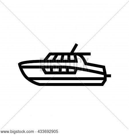 Cabin Cruiser Boat Line Icon Vector. Cabin Cruiser Boat Sign. Isolated Contour Symbol Black Illustra