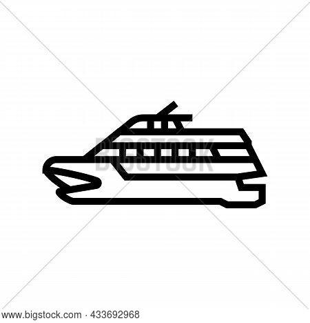 Catamaran Boat Line Icon Vector. Catamaran Boat Sign. Isolated Contour Symbol Black Illustration