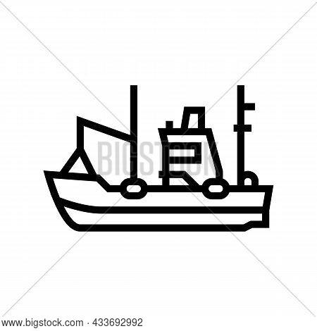 Fishing Boat Line Icon Vector. Fishing Boat Sign. Isolated Contour Symbol Black Illustration