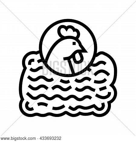 Ground Chicken Line Icon Vector. Ground Chicken Sign. Isolated Contour Symbol Black Illustration