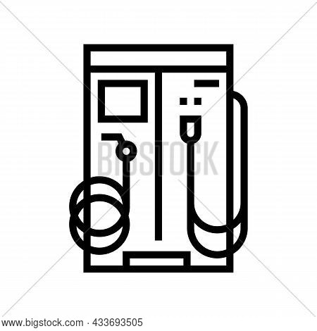 Vacuum Cleaner And Water For Wash Car Station Equipment Line Icon Vector. Vacuum Cleaner And Water F