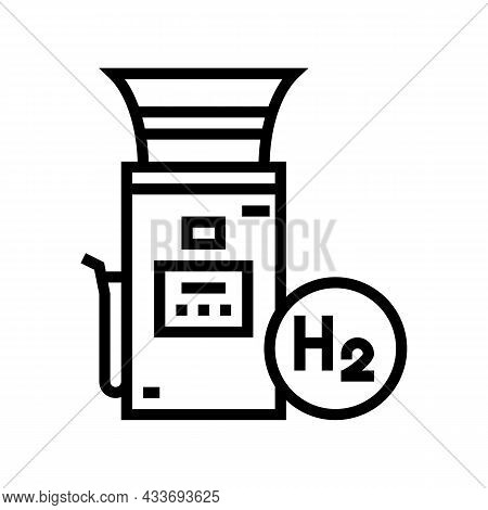 Charging Electric Car Station Line Icon Vector. Charging Electric Car Station Sign. Isolated Contour