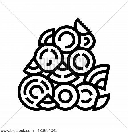 Fuel Wood Line Icon Vector. Fuel Wood Sign. Isolated Contour Symbol Black Illustration