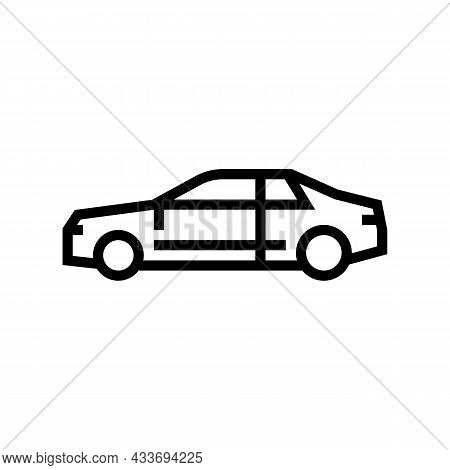 Coupe Car Line Icon Vector. Coupe Car Sign. Isolated Contour Symbol Black Illustration