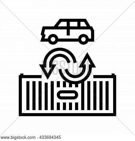 Import Car Line Icon Vector. Import Car Sign. Isolated Contour Symbol Black Illustration