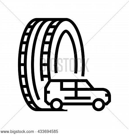 Truck Or Suv Tires Line Icon Vector. Truck Or Suv Tires Sign. Isolated Contour Symbol Black Illustra