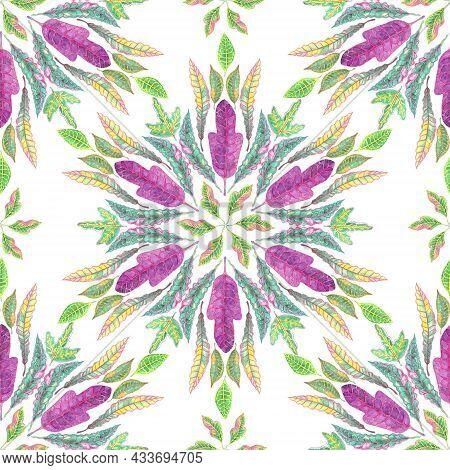 Mandala Composition Element Colorful Leaves Seamless Pattern, Botanical Croton Leaf Watercolor Drawi