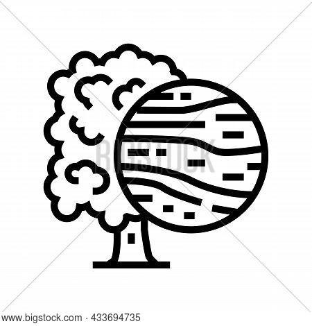 Oak Wood Line Icon Vector. Oak Wood Sign. Isolated Contour Symbol Black Illustration