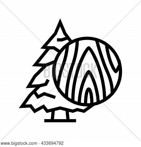 Fir Wood Line Icon Vector. Fir Wood Sign. Isolated Contour Symbol Black Illustration