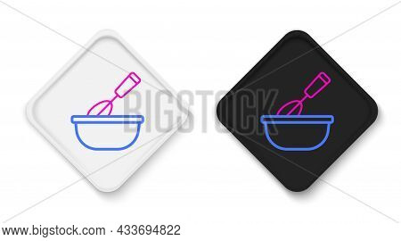 Line Cooking Whisk With Bowl Icon Isolated On White Background. Cooking Utensil, Egg Beater. Cutlery